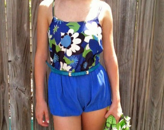 1950s Vintage  PLAYSUIT Swimsuit ROMPER- Big Flower Print Chambray built in Bra by 'Catalina'