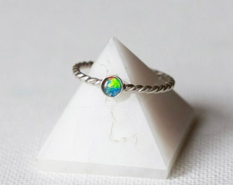 Australian Opal Ring, Sterling Silver Stacking Ring, Opal Jewellery, Opal Ring Silver, October Birthstone Jewelry, Dainty Jewelry