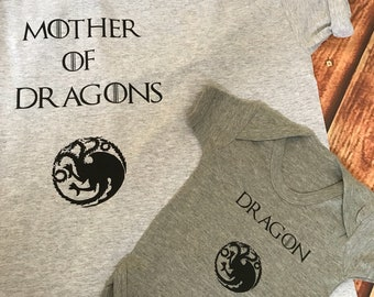 Game of thrones mother of dragons matching t shirt (onesie) set