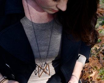 Dagaz Futhark Viking Rune Silver Copper Necklace