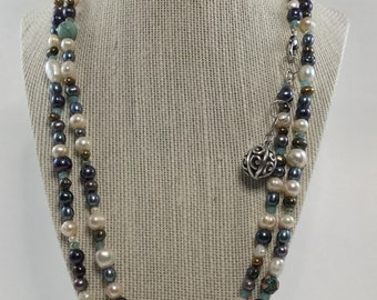 Extra Long Freshwater Pearl and Semi Precious Stone Necklace