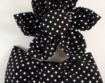 Dog Flower, Dog Bow Tie, Cat Flower, Cat Bow Tie - Black and White Polka Dots