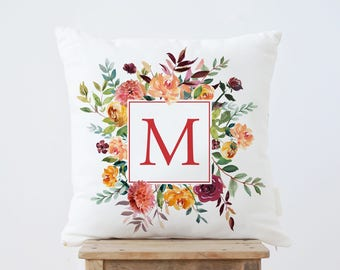 Initial Letter Pillow, Monogram Pillow, Personalized throw pillow, Floral Pillow, Nursery Gift, wedding gift, gift for her, Monogram Cushion