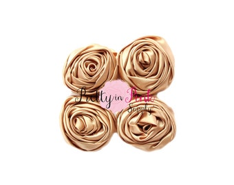 Tan Small Satin TWISTED Rosettes- You Choose Quantity- Rolled Rosettes- Rolled Rosettes- PrettyinPinkSupply- DIY Supply Shop