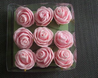 x 2 flowers (Roses) pink color soft 4 cm with thin metal rod
