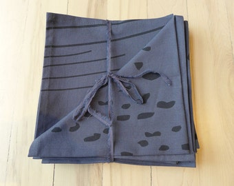 napkins, natural linen and cotton,  hand printed,
