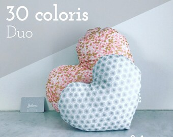 Duo of cushions hearts - 30 colors of fabrics and sizes to choose to decorate a nursery