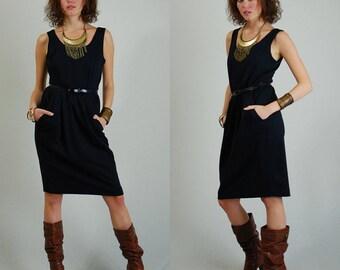 Black Dress / Vintage Dress / 80s Dress / Vintage 80s Dress / Minimalist Dress / Little Black Dress / Party Dress / Small Medium