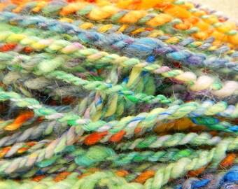 Multicolored Handspun Art Yarn - 2-ply - 32 yards - gift for knitter - gift for crocheter