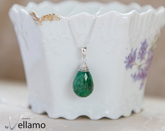 Emerald drop necklace, natural genuine emerald briolette gemstone, sterling silver necklace, dainty gift for her necklace May birthstone