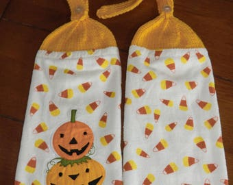 Halloween - 2 Stacked Pumpkins & Candy Corn  Knit Top Kitchen Towels