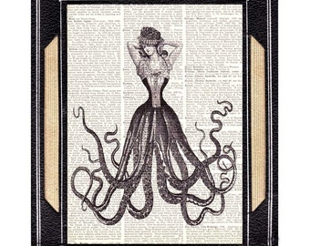 OCTOPUS WOMAN art print wall decor Victorian Fashion Steampunk on vintage dictionary book page cephalopod tentacles lady black white 8x10