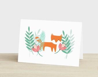 Thank You Card Fox Thank You Card Botanical Thank You Card Fox Card Fox Thinking of You Card Blank Fox Thank You Card Plant Lover Card
