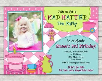 Mad Hatter Birthday Invitation, Tea Party Invitation - Digital File (Printing Services Available)