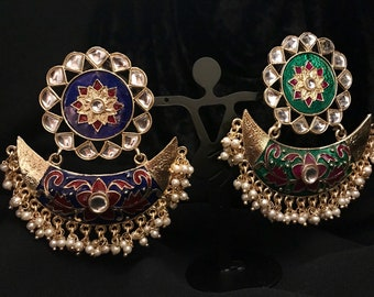 Sun-Moon Kundan Earrings