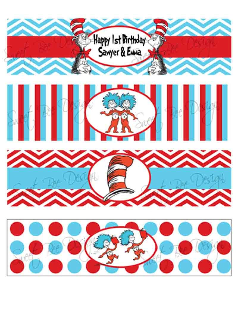 Dr Seuss Thing 1 & Thing 2 Birthday party or Baby Shower Water