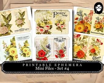 Bouquet Clipart - Mini Files Set #4 - 3 Page Instant Download - ephemera pack, altered art kit, junk journal kit, blank journal cards