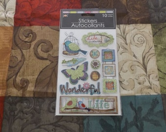 "Scrap-booking Stickers Paper Craft 3-D Embellishment ""Life is Beautiful"" Theme Scrapbooking Pop-Up Brand New"