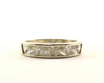 Vintage Triangle Crystal Band Ring 925 Sterling Silver RG 3043