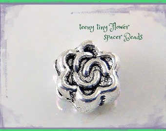 30 teeny FLOWER spacers //  small BEADs Tibetan style  Rich SILVER tone  // nice detail on both sides  //  5mm  Great quality