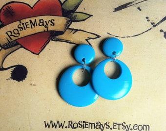 Sky Blue Baby Hoops, Bakelite Style Earrings, 40s 50s Inspired, Rockabilly Earrings, Fakelite, Pin Up, Mid Century Style, Vintage Inspired
