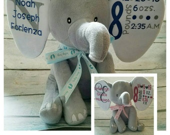 Plush Elephant Birth Announcement / Baby Gift / Baby Shower / Birth Announcement/ Elephant stuffed animal / stuffed animal / Newborn gift