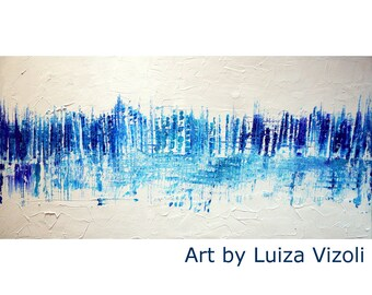 WHITE BLUE Inspired by Pollock Abstract Painting 48x24 Large Abstract Original Artwork Ready to Ship Art by Luiza Vizoli