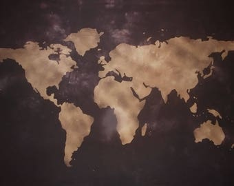 World Map Wall Tapestry Bleached Black (Atlas Map)