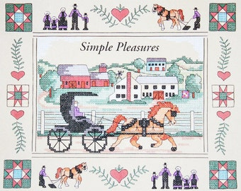 Cross Stitch Kit: Horse and Buggy, Amish, Primitive, Farm, Simple Life - Vintage Dimensions Stamped Hand Embroidery Pattern Kit