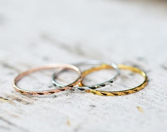 Gold Stacking Rings, Stacking Ring Set, Stackable Rings, Dainty Rings, Thin Gold Rings, White Gold, Rose Gold, Yellow Gold