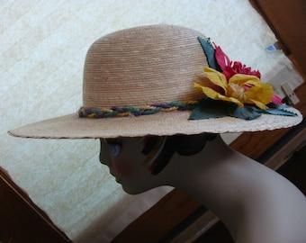 "Vintage Summer Garden Tan Straw Corn Husk Flowers Pink Yellow 4"" Wide Brim Horseracing Hat 21"" Braided Band"