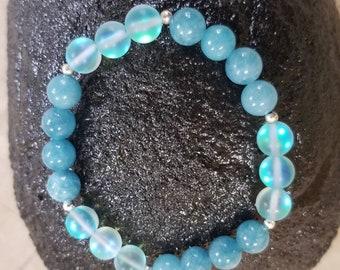 Aquamarine and Moonstone gemstone bracelet
