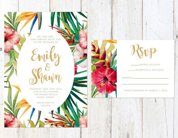 Tropical Wedding Invitations: Tropical Wedding Invitation Destination Wedding Invitation