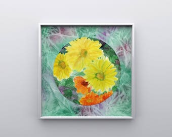 Yellow Mum Watercolor Print