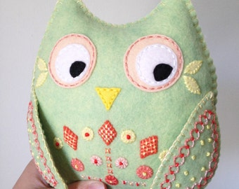 Owl felt art doll, Donation to Planned Parenthood, Pistachio Peach, hand embroidery on felt, Seen in Stuffed Magazine, OOAK