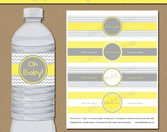 Yellow Gray Chevron Water Bottle Labels, Gender Neutral Baby Shower Decor Printable Baby Shower Water Bottle Stickers Instant Download BB1