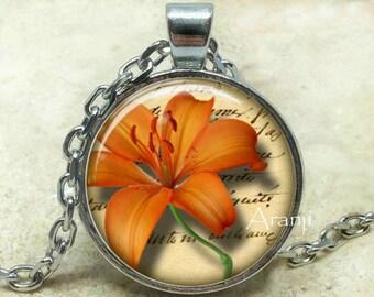Orange tiger lily art pendant, orange tiger lily pendant, orange tiger lily necklace, lily pendant, lily necklace, Pendant #PL154P