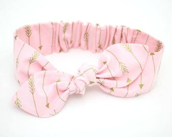 Baby girl headband, topknot, baby turban, baby bows, cotton knotted, toddler, pink and gold arrows baby headband