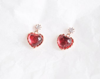 Ruby Snowdrop Clip On Earrings