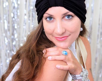 Fashion Turban in Black -  Women's Hair Wrap - Jersey Knit Head Covering - Lots of Colors