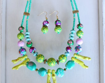 Colorful Statement Jewelry Set, Chartreuse and Turquoise Statement Necklace and Earrings, Unique Colorful Jewelry, Handmade Beaded Jewelry