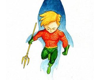Aquaman Inspired Watercolor Print