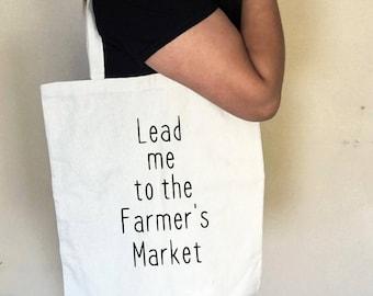 Lead Me to the Farmer's Market Canvas Tote Bag // Farmer's Market tote, Canvas tote, Cotton tote, Fruits & Veggies tote bag, Market tote