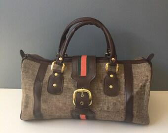 Tweed barrel weekend bag - 1970s new old stock