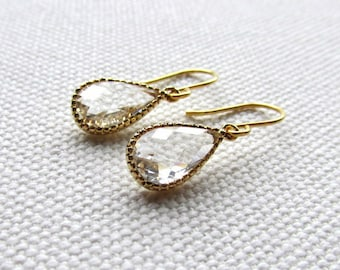 Clear Crystal Earrings Gold Tear Drop Earrings Modern Earrings Bridesmaid Wedding Danlge
