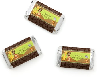 Safari Jungle Mini Candy Bar Wrappers - Personalized Baby Shower & Birthday Party Hershey® Miniature Candy Bar Sticker Labels - 20 Ct