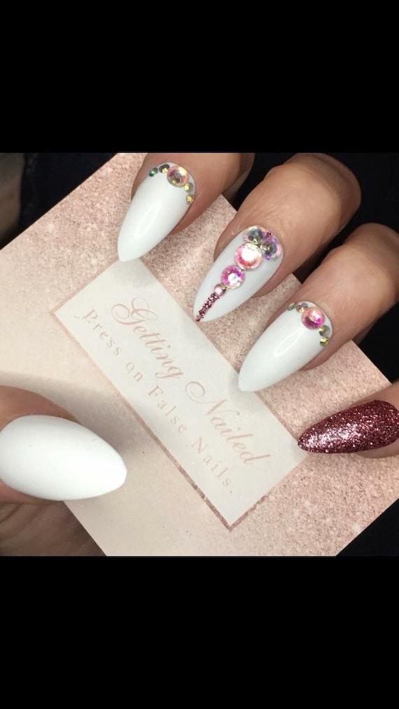 white false nails, rose gold nails, bridal false nails, party false ...