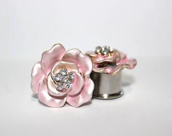 "Baby Pink Rose Flower Crystal Plugs 1/2"" 13mm"