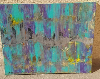 "Continuum--Abstract Acrylic Metallic Painting--Bright Colors--Stretched Canvas--16"" x 20"""