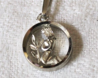 "Sterling Silver Necklace - Child Kneeling To Pray - 18"" Sterling Silver Chain - Beautiful"